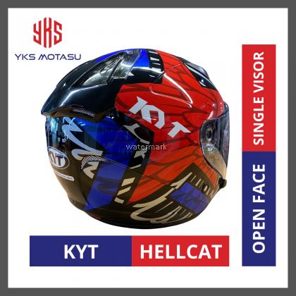 KYT HELLCAT STAR BLACK Single Visor Open Face Helmet (020)